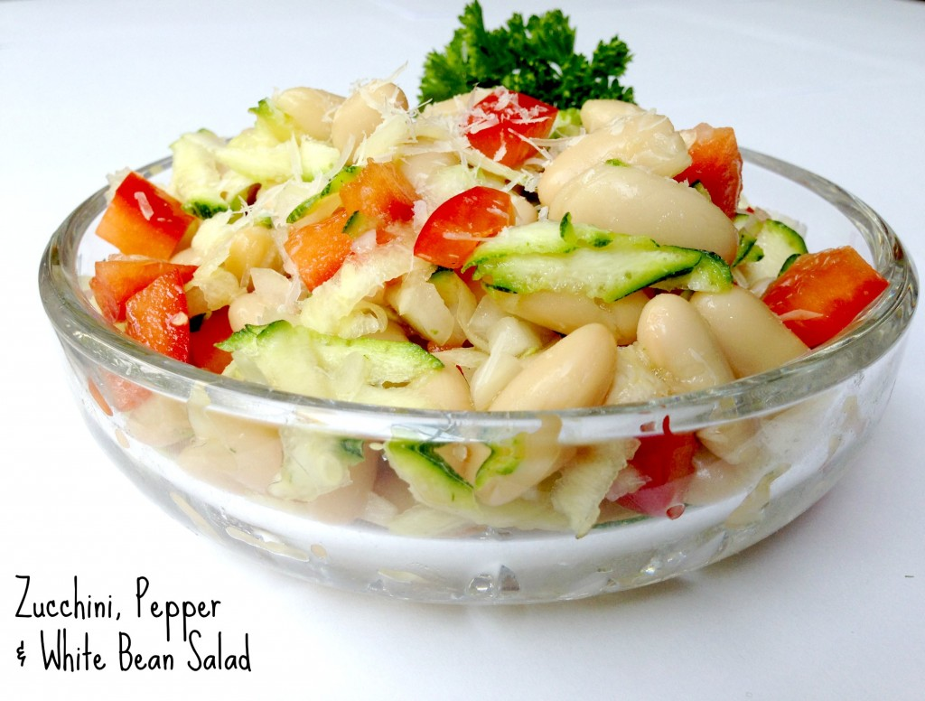 Zucchini, pepper & white bean salad via http://www.thegoodmama.org