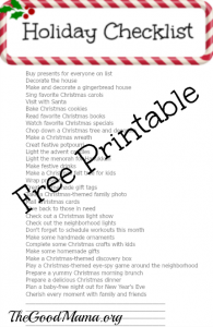 Holiday Checklist with Free Printable