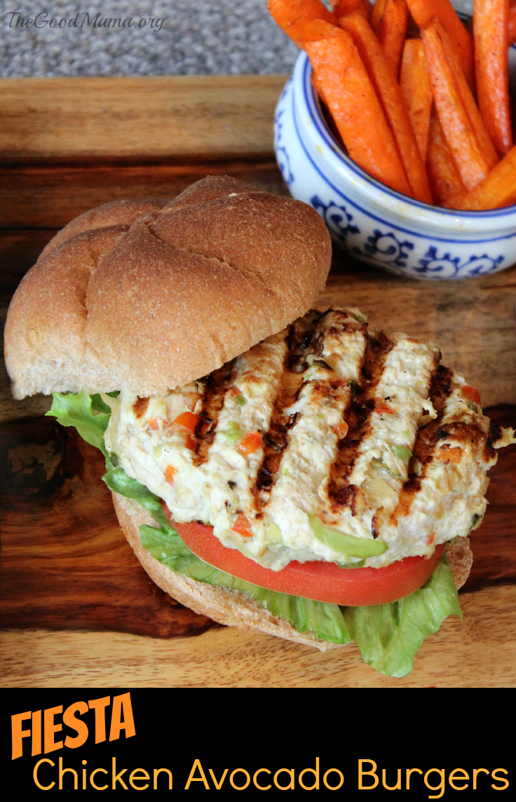 Fiesta Chicken Avocado Burger Recipe- Easy to make, healthy, and SO tasty!