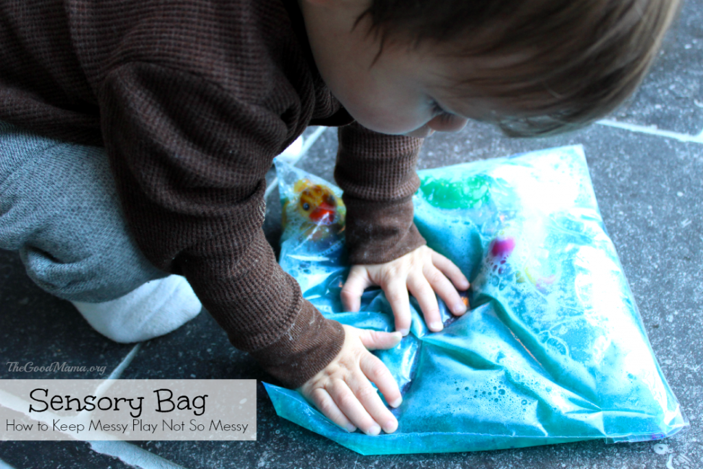 How to Keep Messy Play Not So Messy- Sensory Bag