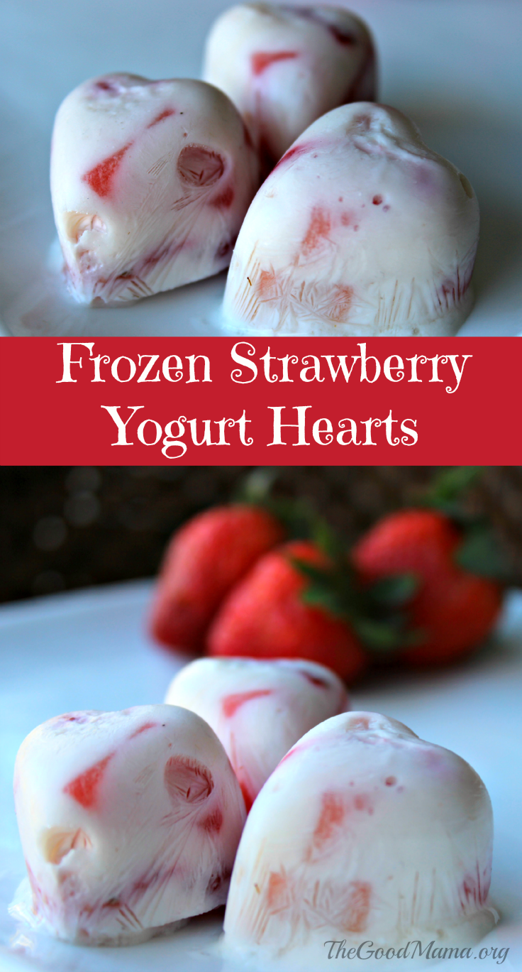 Frozen Strawberry Yogurt Hearts- Perfect for Valentine's Day