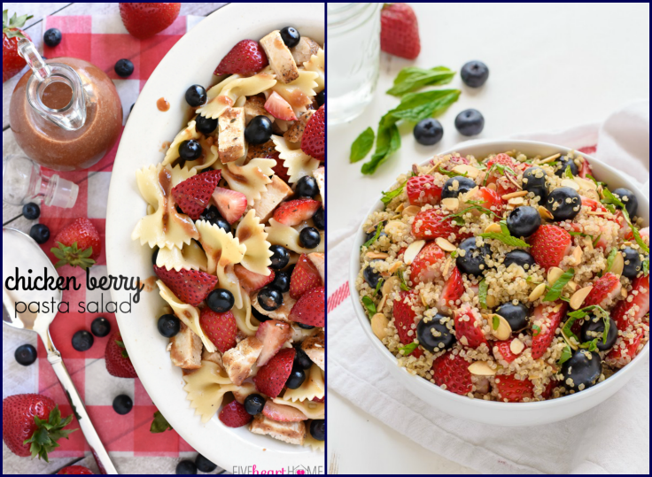 Perfectly Healthy Patriotic Recipes- Chicken Berry Salad and Quinoa Fruit Salad