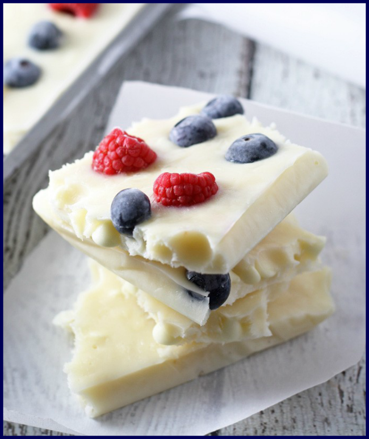 Perfectly Healthy Patriotic Recipes- Red, white and blue frozen yogurt bark