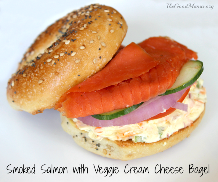 Smoked Salmon with Veggie Cream Cheese Bagel Recipe