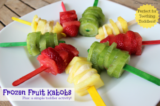 A Simple Toddler Activity- Making Frozen Fruit Kabobs Recipe (Perfect for teething toddlers)