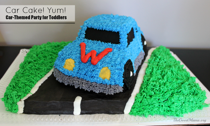 Car Cake! A simple car-themed party for toddlers, including games, decor and more!