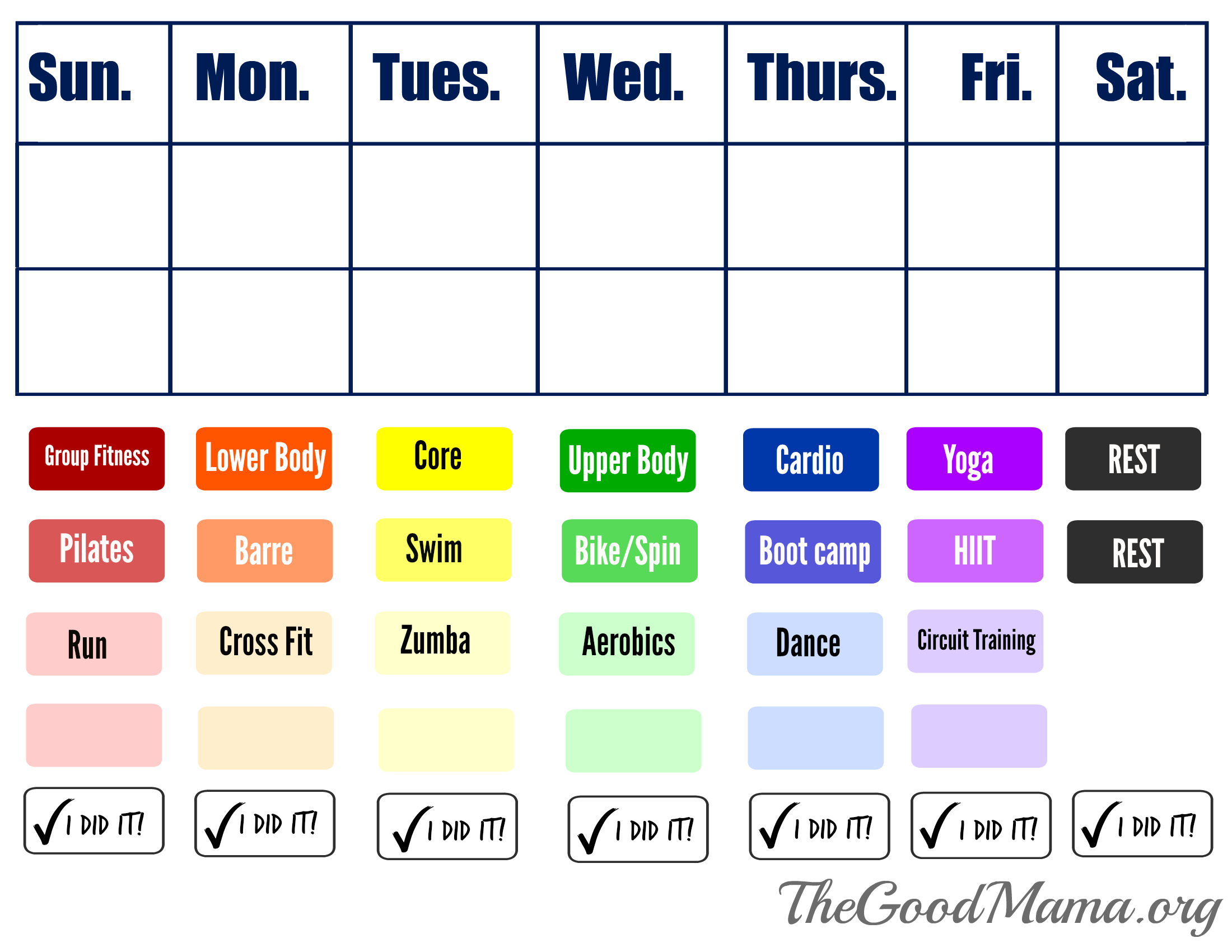 Simple Printable Workout Calendar for Active Moms - The Good