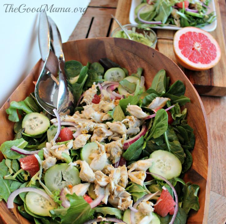 Crab & Grapefruit Salad with Avocado Dressing