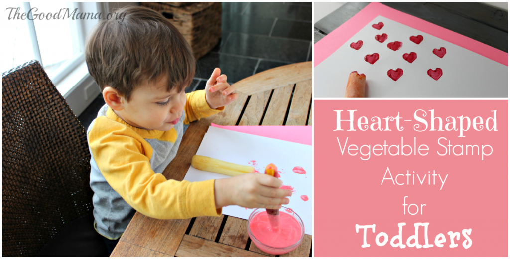 Heart-Shaped Vegetable Stamp Activity for Toddlers