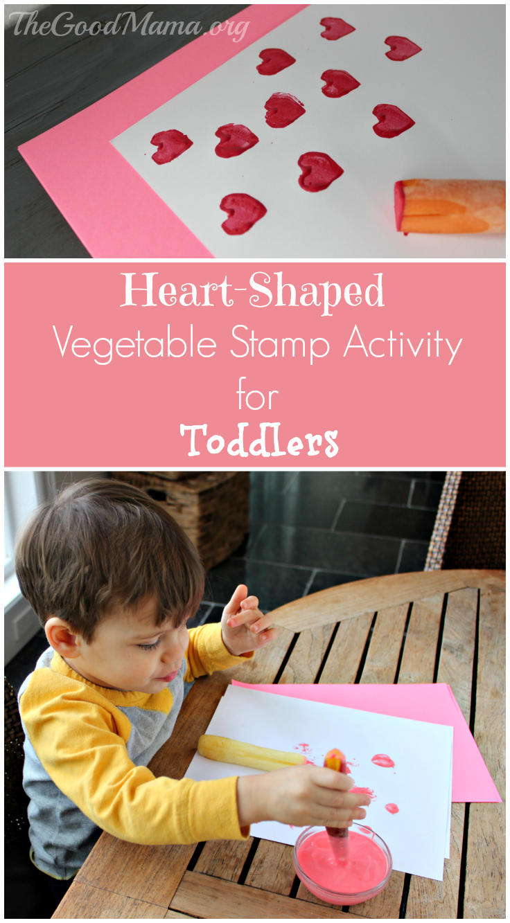 Heart-shaped Vegetable Stamp Activity for toddlers- perfect for Valentine's Day!