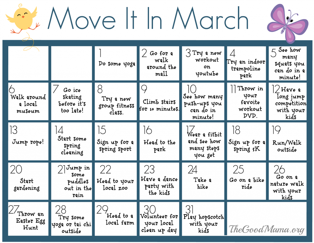 Move It In March Calendar- 31 Ways to Stay Active this March