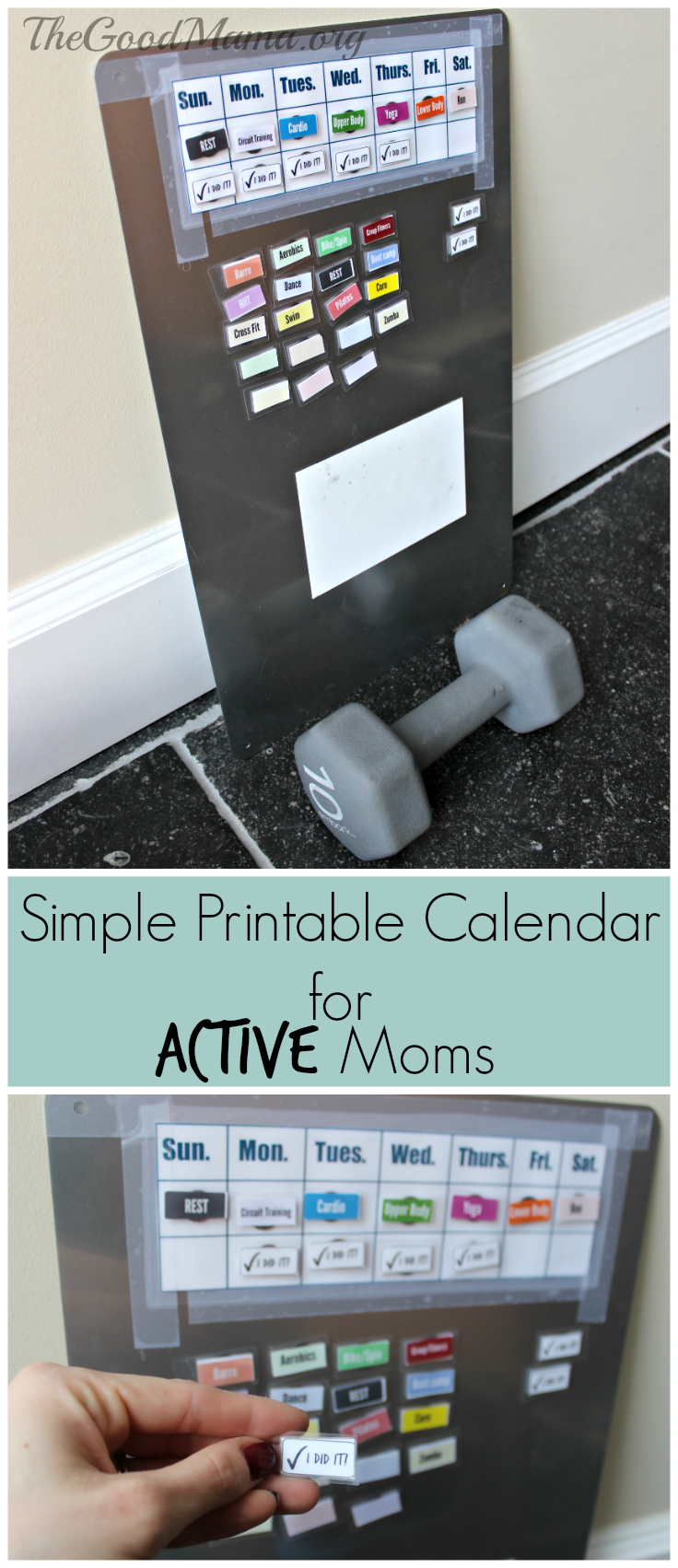 Simple Printable Calendar for Active Moms