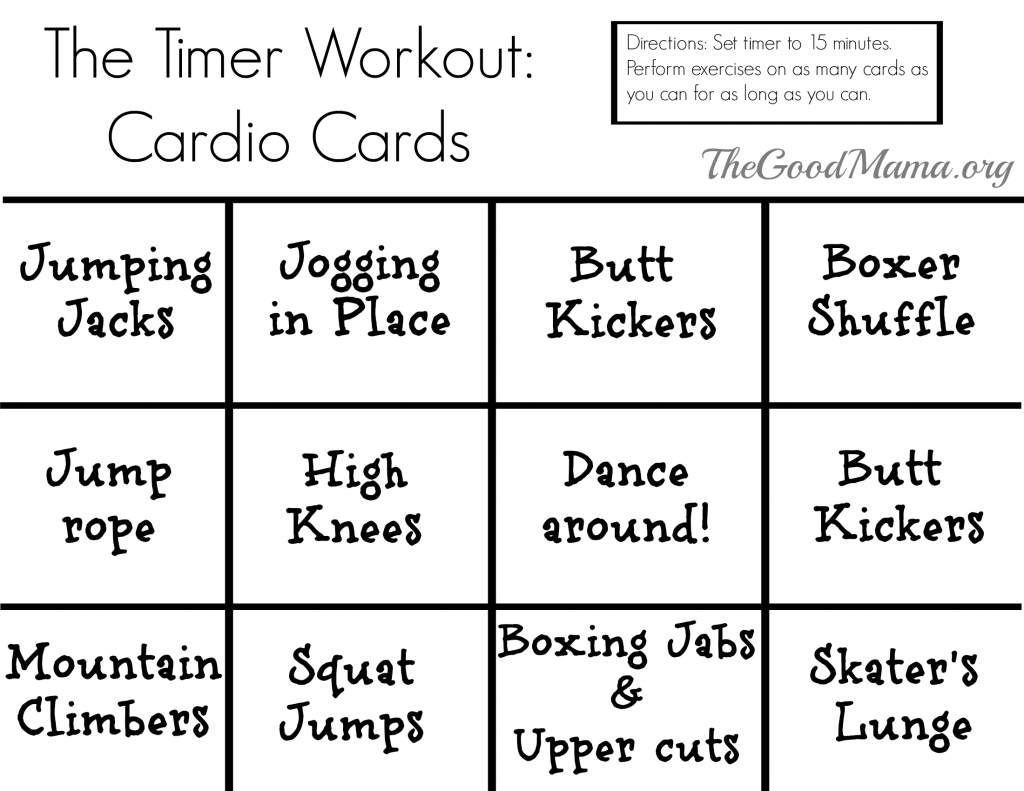 The Timer Workout with Free Printable exercise cards