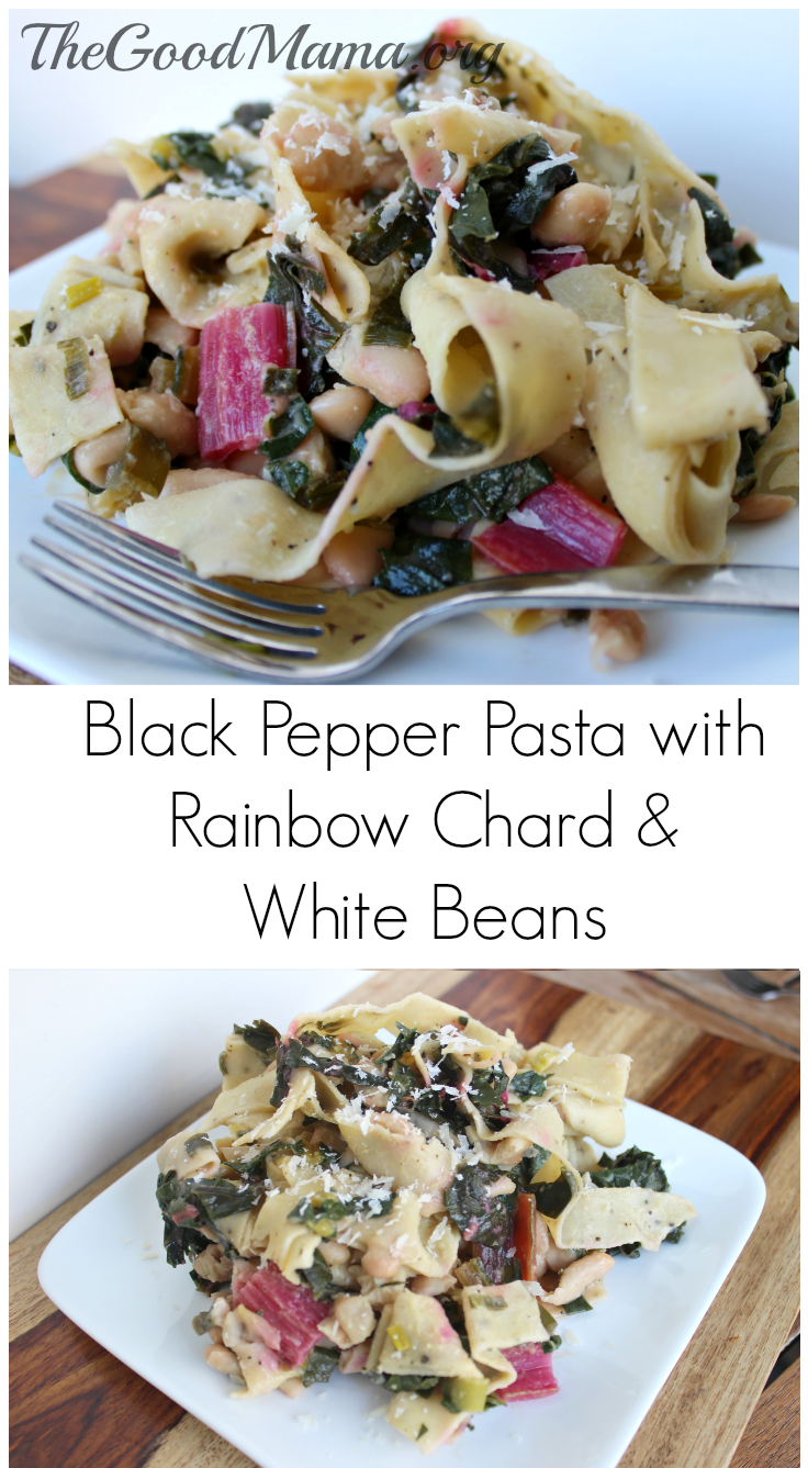Black Pepper Pasta with Rainbow Chard and White Beans- perfect for your meatless Monday!