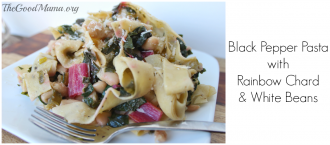 Black Pepper Pasta with Rainbow Chard and White Beans Recipe