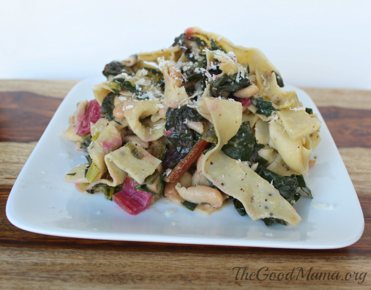 Black Pepper Pasta with Rainbow Chard and White Beans