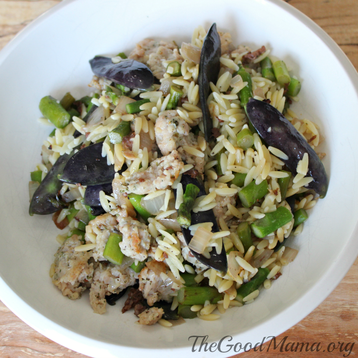 Spring Orzo with Asparagus, Purple Snap Peas and Sausage Recipe