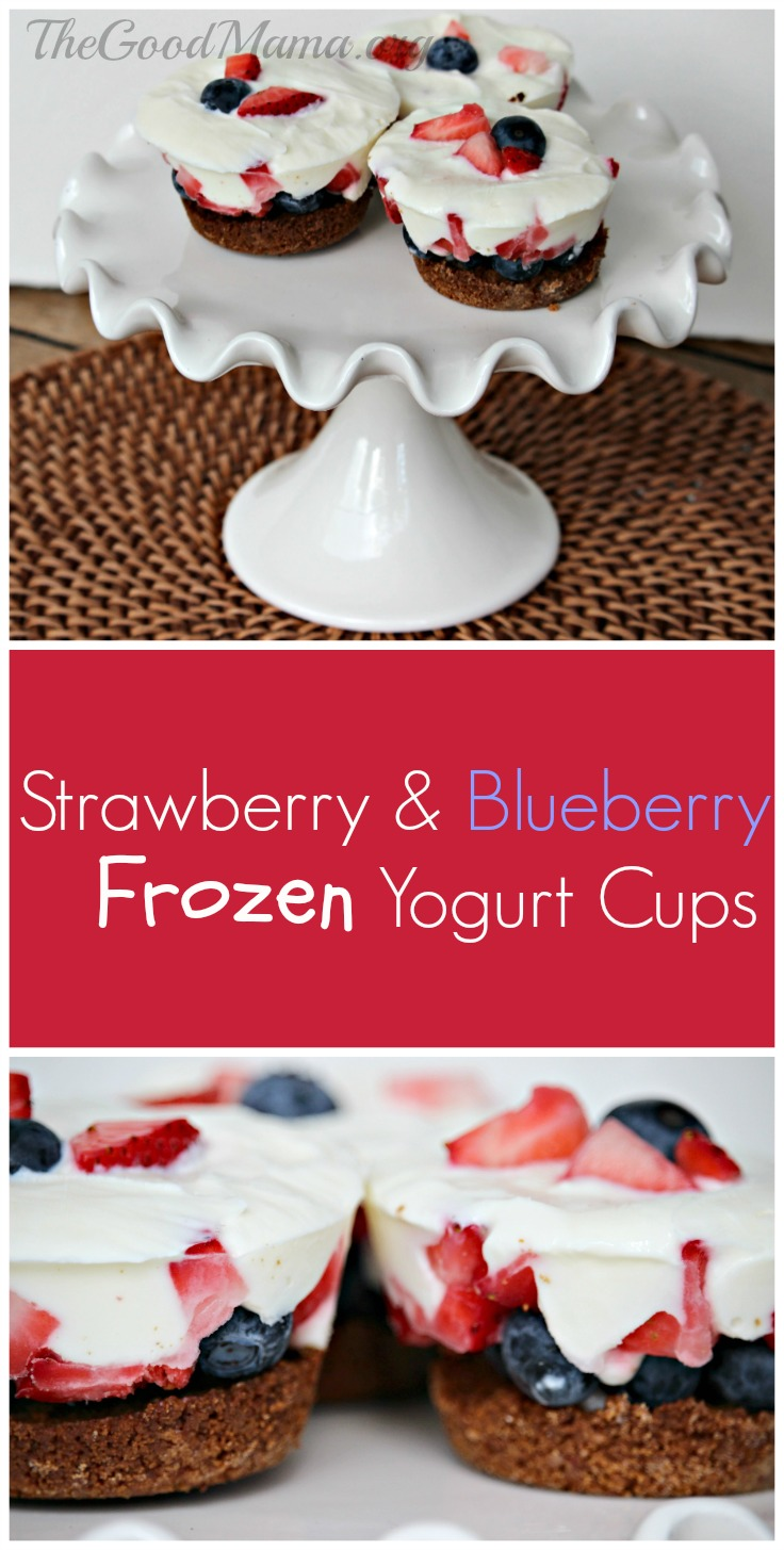 Strawberry & Blueberry Frozen Yogurt Cups Recipe- super simple fourth of july dessert!