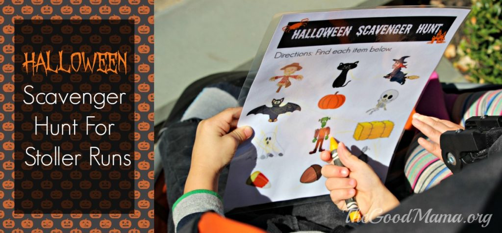 Halloween scavenger hunt for stroller runs