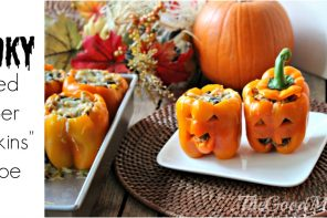 "Spooky Stuffed Pepper ""Pumpkins"" Recipe"
